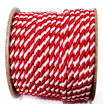 Snur matase rasucit, alb-rosu, pentru martisor,  4mm 1 m