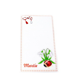 Carton martisor, gargarita si ghiocei, 9x5.3cm 10 buc