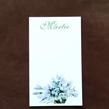 Carton martisor, cu ghiocei, 9.2x5.3cm 10 buc