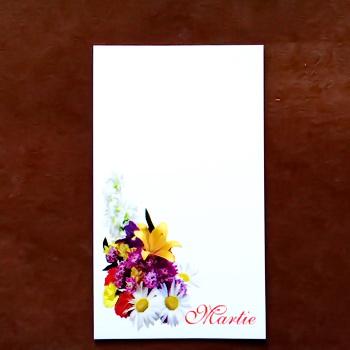 Carton martisor, cu buchet cu margarete, 9.2x5.4cm 10 buc