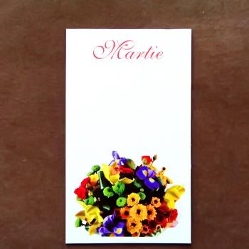 Carton martisor, cu buchet cu flori multicolore, 9.2x5.4cm 10 buc