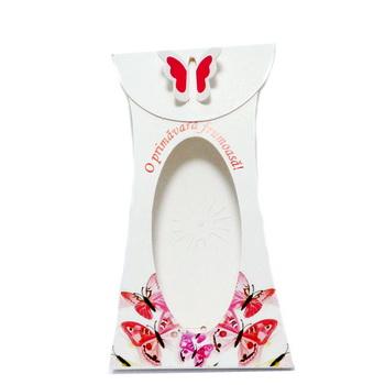 Cutie carton martisor, alb cu motive nationale, 13x5x1cm 10 buc