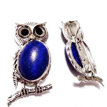 Brosa/pandantiv tibetan, bufnita 48x24mm, cabochon Lapis Lazuli 25x18mm 1 buc
