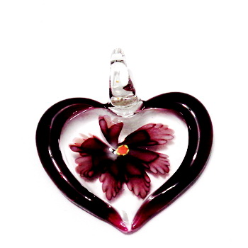 Pandantiv  Lampwork, inima transparenta cu interior floare mov, 45x42x10mm 1 buc