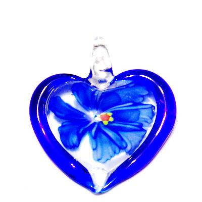 Pandantiv  Lampwork, inima transparenta cu interior floare albastra, 45x42x10mm 1 buc