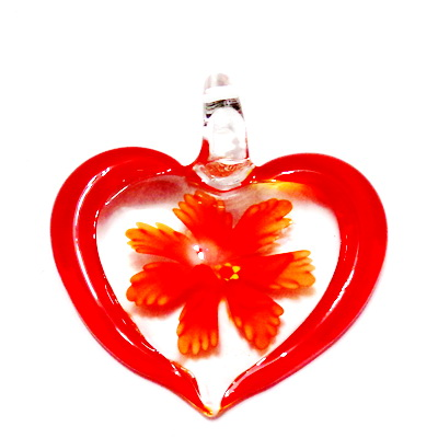 Pandantiv  Lampwork, inima transparenta cu interior floare rosie, 45x42x10mm 1 buc
