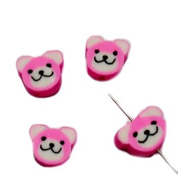 Margele polymer, cap de ursulet, roz, 10~11x10~11x4~4.5mm 1 buc