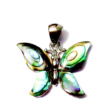 Pandantiv Scoica Paua, pe baza metalica, fluture, 27x21x3mm 1 buc
