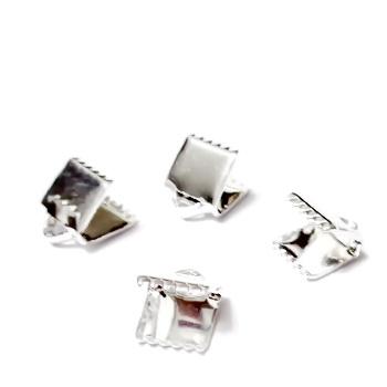 Capat prindere panglici, placat cu argint,  8x6 mm 1 buc