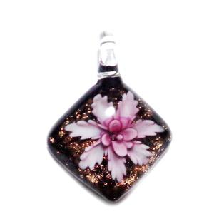 Pandantiv Murano, rosu cu auriu si flori, 46x4~10mm 1 buc