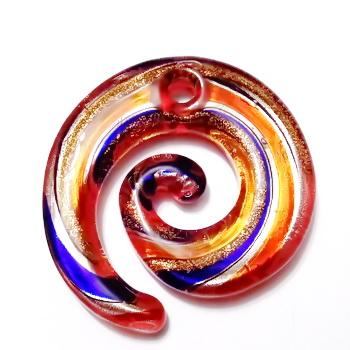 Pandantiv Murano, rosu cu argintiu, auriu si albastru, spirala 49x46x6mm 1 buc