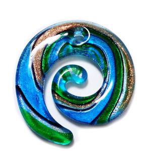 Pandantiv Murano, bleu cu argintiu, auriu si maro, spirala 49x46x6mm 1 buc