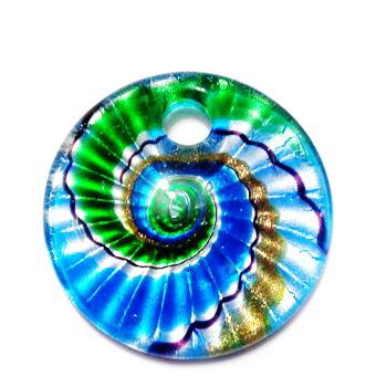 Pandantiv Murano, cu desen spirale, bleu cu argintiu, auriu, negru, verde si albastru,  45x10mm 1 buc