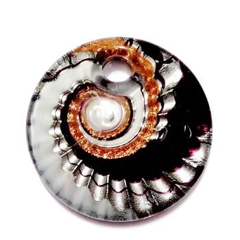Pandantiv Murano, cu desen spirale, negru cu argintiu, auriu si alb,  45x10mm 1 buc