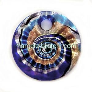 Pandantiv Murano, cu desen spirale, albastru cu argintiu, auriu, negru, verde si bleu, 45x10mm 1 buc