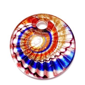 Pandantiv Murano, cu desen spirale, rosu cu argintiu, auriu, negru si albastru,  45x10mm 1 buc