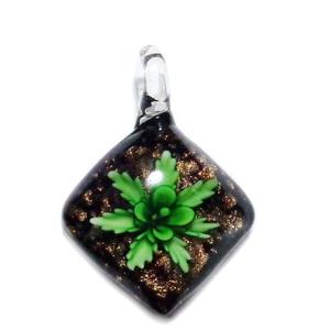 Pandantiv Murano, verde cu auriu si flori multicolore, lacrima 54x40x12mm 1 buc