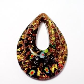 Pandantiv Murano, negru cu auriu si flori multicolore, lacrima 54x40x12mm 1 buc
