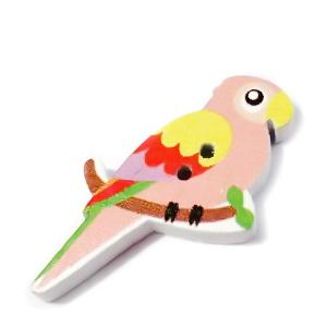 Nasturi lemn, 35x20x4mm,  papagal alb cu roz-somon 1 buc