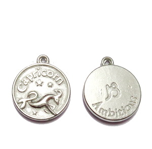 Pandantiv argintiu inchis zodiac, CAPRICORN, 20x17x3mm  1 buc