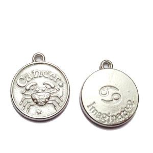 Pandantiv argintiu inchis zodiac, RAC, 20x17x3mm  1 buc