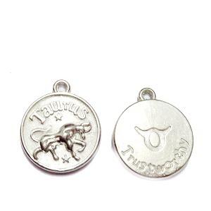 Pandantiv argintiu inchis zodiac, TAUR, 20x17x3mm  1 buc