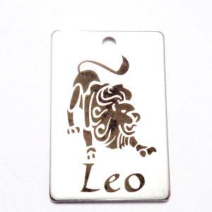 Pandantiv otel inoxidabil zodiac, LEU, 30x20mm  1 buc