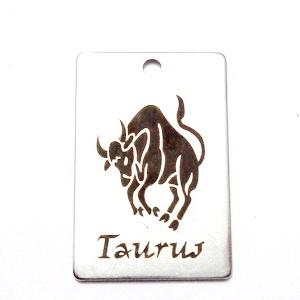 Pandantiv otel inoxidabil zodiac, TAUR, 30x20mm   1 buc