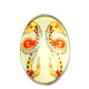 Cabochon sticla zodiac, GEMENI, 25x18mm   1 buc