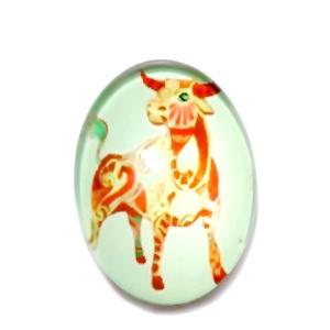 Cabochon sticla zodiac, TAUR, 25x18mm   1 buc