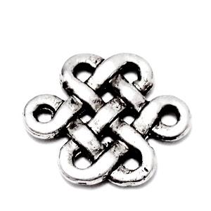 Conector/link tibetan, nod mistic, 17x14x2mm 1 buc