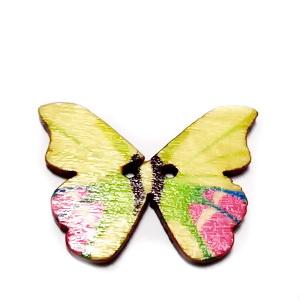 Nasturi lemn natur, fluturas multicolor, 20x28x2mm, model 1 1 buc