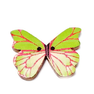Nasturi lemn natur, fluturas multicolor, 20x28x2mm, model 13 1 buc