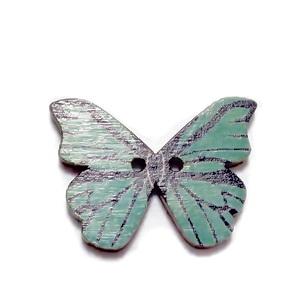 Nasturi lemn natur, fluturas multicolor, 20x28x2mm, model 15 1 buc