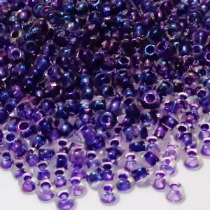 Margele TOHO, rotunde  11/0 : Inside-Color Rainbow Crystal/Tanzanite-Lined 20 g