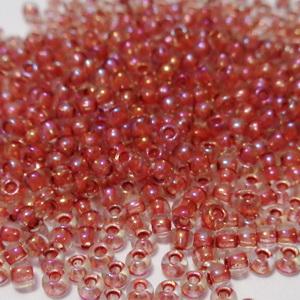 Margele TOHO, rotunde  11/0 : Inside-Color Luster Crystal/Terra Cotta-Lined 20 g