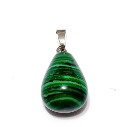 Pandantiv malachit de sinteza verde, lacrima 21~24x12~14mm 1 buc