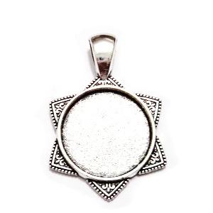 Baza cabochon, argint tibetan,, Steaua lui David', pandantiv 36x26mm, interior 18mm 1 buc