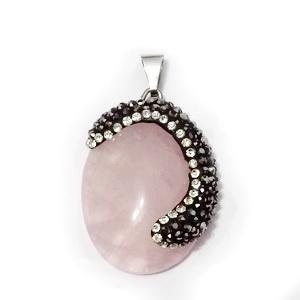 Pandantiv cuart roz cu ornamente rhinestone, 33x24x7mm 1 buc