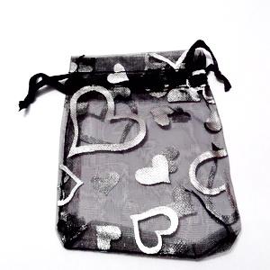 Saculeti organza negrii cu imprimeu argintiu, 9x7cm, interior 7x7cm 1 buc