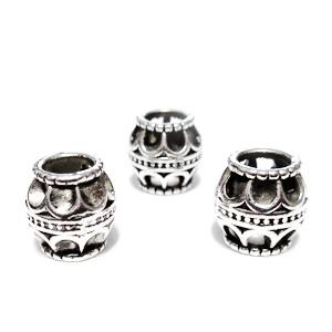 Margele tibetane, stil Pandora, ovale, 10x10mm, orificiu 5mm 1 buc