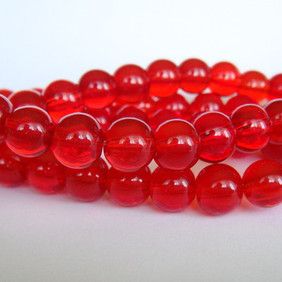Margele sticla rosii transparente 8mm 10 buc