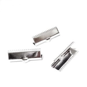 Capat prindere panglici, placat cu argint,  20x8mm 1 buc