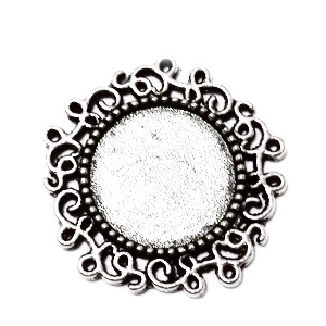 Conector / link cabochon, argint tibetan, 24mm, interior 14mm 1 buc