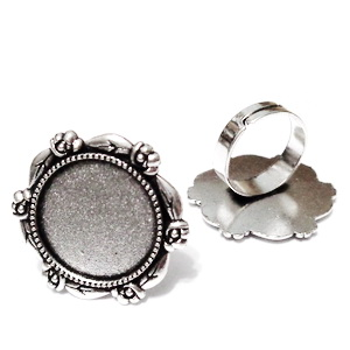 Baza cabochon, argint tibetan, inel, platou 30mm, interior 20mm 1 buc