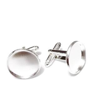 Baza cabochon, buton, argintiu, 27x18mm, interior 16mm 1 buc