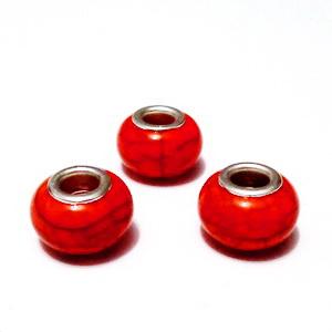 Margele tip Pandora, plastic, imitatie turcoaz rosu, 14x9mm, orificiu 5mm 1 buc
