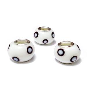 Margele tip Pandora, Lampwork, albe cu negru, 14x10mm, orificiu 5mm 1 buc