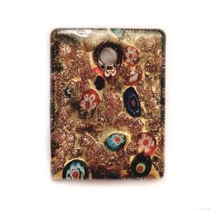 Pandantiv sticla Murano, negru cu glitter auriu, dreptunghi 50x35x10mm 1 buc
