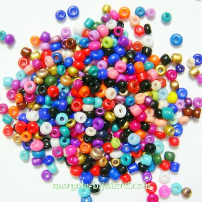 Margele nisip, mate, multicolore, 2mm 20 g